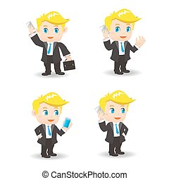 cartoon businessman - cartoon set of businessman show...