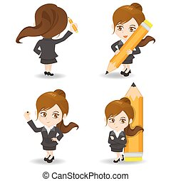 cartoon illustration Businesswoman write - cartoon...