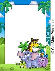African frame with group of animals - color illustration