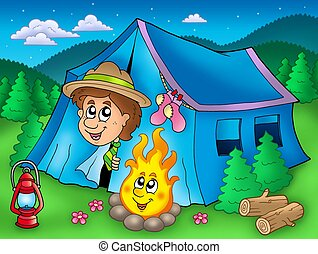 Cartoon scout boy in tent - color illustration