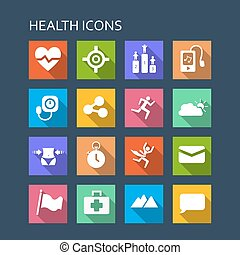 Health icon set - Flat Series with long shadows