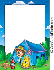 Frame with camping scout - color illustration.