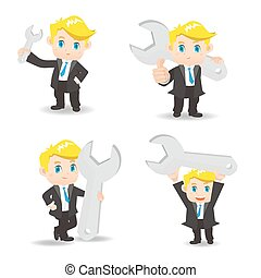 cartoon illustration Businessman with wrench
