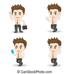 cartoon businessman use smart phone - cartoon set of...
