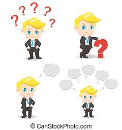 cartoon illustration Business man question