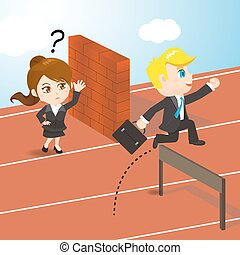 businesspeople competing - cartoon illustration set...
