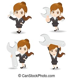 cartoon illustration Businesswoman with wrench