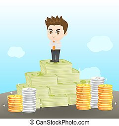 Cartoon illustration businessman wealthy