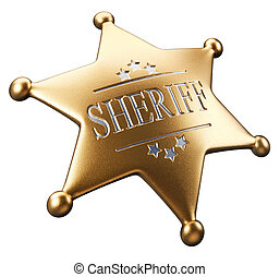 Sheriffs badge - 3d render golden sheriffs badge isolated on...