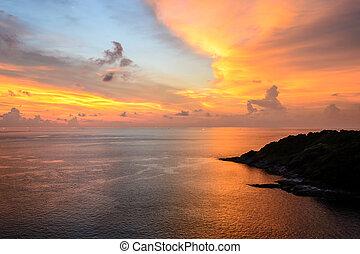 Beautiful sunset at promthep cape in Phuket Thailand