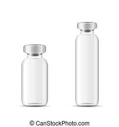 Blank glass medical bottle, 3d realistic vector lab...