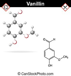 Vanillin - chemical formula and molecular structure, food...