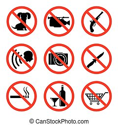 Do not icons set, prohibiting signs