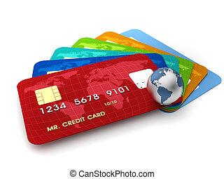 Credit cards - 3d render illustration of conceptual credit...