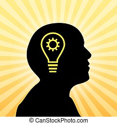 Human silhouette with idea icon, concept of insight, 2d...