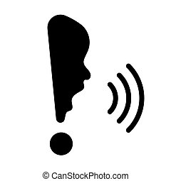 Exclamation mark with human face, concept of cry, 2d vector...