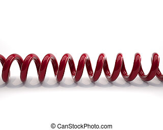 Phone cord - Close up of a red phone cord over white - 3d...