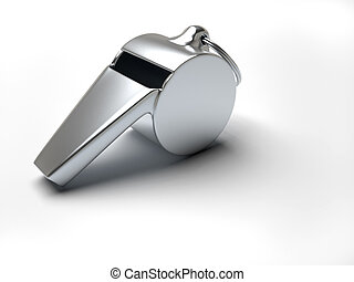 Whistle - Close up of a silver whistle over white - 3d...