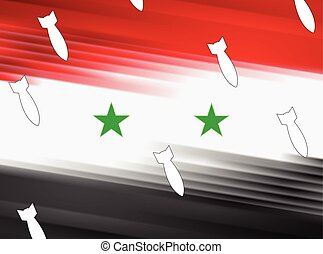 Vector Syrian flag and air warheads illustration - Abstract...