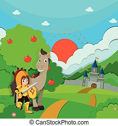 Knight and horse on the land illustration