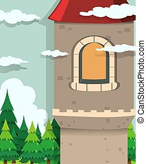 Castle tower and pine trees illustration