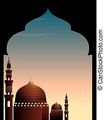 Scene with mosque at twilight