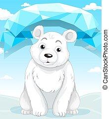 Little polar bear sitting on ice