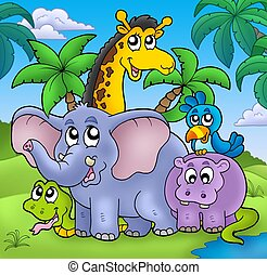 Landscape with group of animals - color illustration