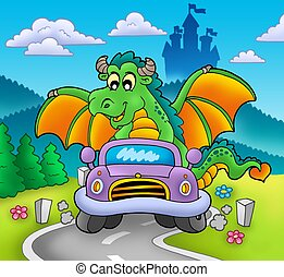 Green dragon driving car - color illustration.