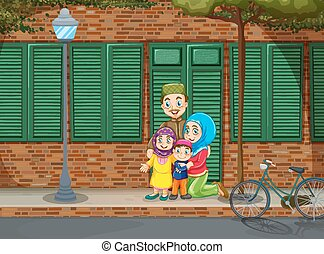 Muslim family on the sidewalk illustration