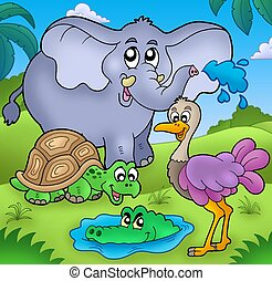 Group of various tropical animals - color illustration.