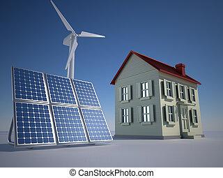 Alternative energy - House solar panel and wind turbine - 3d...