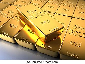 Gold bars - 3d rendered illustration of gold bars, close up