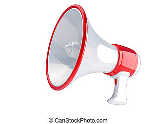 Megaphone - Retro megaphone isolated on white 3d render...