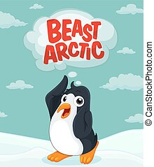 Penguin at the arctic ground illustration