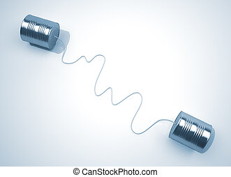 Cans phone - 3d render illustration of a telephone made from...