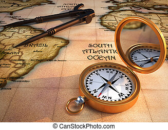 Old map and compass - Old drawing compass, orientation...
