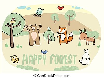 Happy forest and funny animal