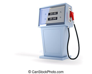 Gas station - 3d render illustration of gas pump over white...