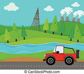 Red jeep riding on the road