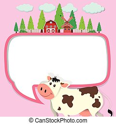 Border design with cow and farm