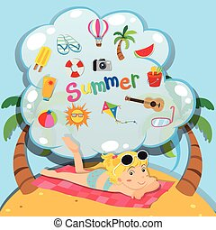 Summer theme with girl on the beach illustration
