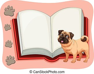 Open book and a pet dog