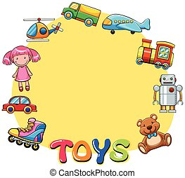 Border design with lots of toys