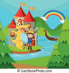 Prince and dragon in the fairy land illustration