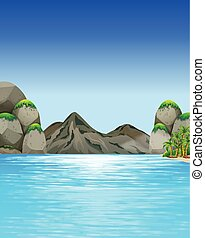 Ocean scene with mountains and trees illustration