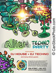 Vector night party invitation in alien techno style. Vector template graphic.