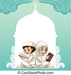 Muslim couple in white costume reading books illustration