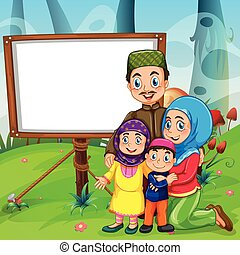 Border design with muslim family illustration