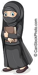 Muslim girl in black costume holding book illustration